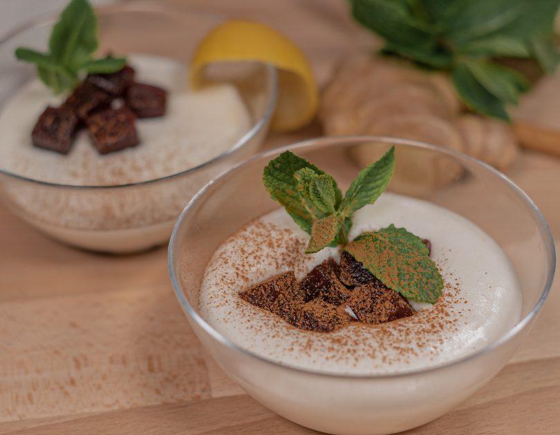 Mousse d'arròs amb beguda de soja i codonyat